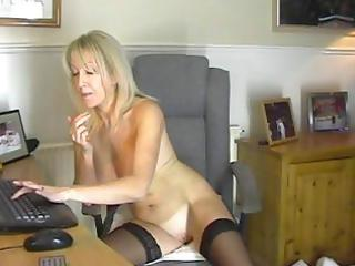 blond mother i in black nylons masturbates on a