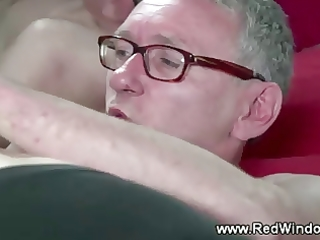 older lad can his younger hooker on his hard dick