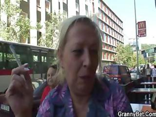 groaning granny rides juvenile meat