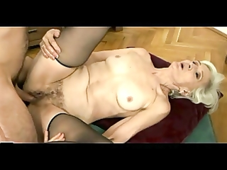 grey haired granny in nylons receives cum on her