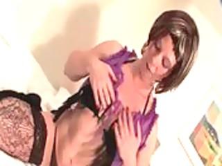 older hawt honey touching her bra buddies and