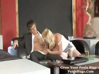 corpulent aged blond munches on his pounder and