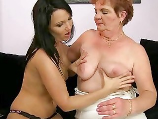 chubby granny enjoys lesbo sex with legal age