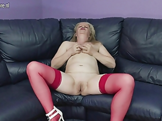 filthy old grandma masturbating on the ottoman