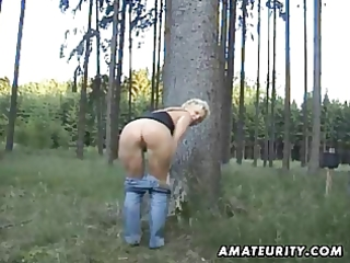 aged dilettante wife sucks and copulates outdoor
