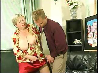 obese blond granny uses her massive saggy melons