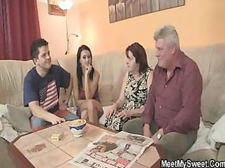 blameless angel is enticed by granny and drilled
