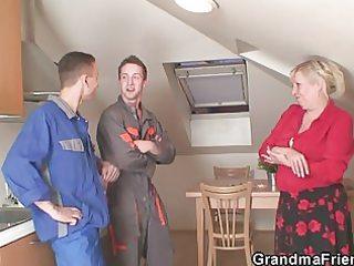 repairmen gangbang busty grandma from the one