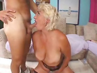 nasty blond granny toys herself then blows cock,