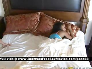 appealing dark brown wife wakes up
