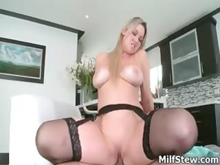horny large wobblers golden-haired milf fucking