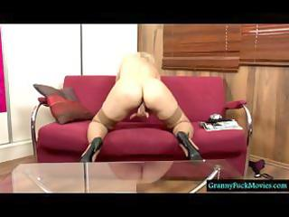blond granny filmed in solo action