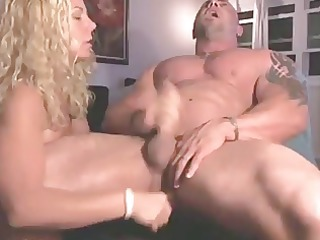 wife fucks the cum out of husband with sex-toy
