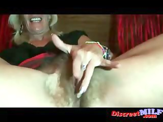 older milf show her shaggy pussy