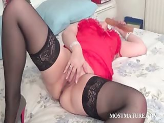 wicked aged fucking a large sex-toy