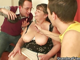 obese aged slut swallows knobs