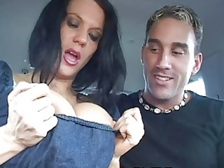 mother i shows huge boobs in car and receives