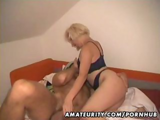 non-professional blond wife eats his cock,