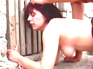 brunette hair mature mommy drilled outdoor