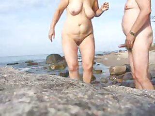 mature pair sex on the beach-wear-tweed