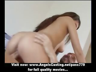 sexy brunette hair non-professional mommy doing