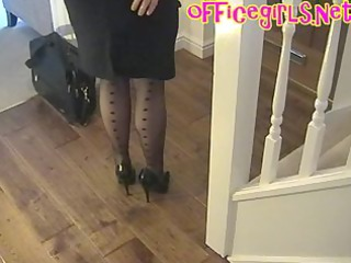 large tits aged secretary in nylons