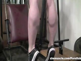 busty buff aged blond flexes her muscled cum-hole
