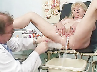 golden-haired grandma kinky cum-hole exam with