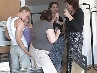 four excited mammas enticed cute guy to coll