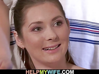 spouse watches as his sexy wife is cuckolding on