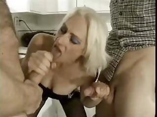 lewd golden-haired granny takes on juvenile guys