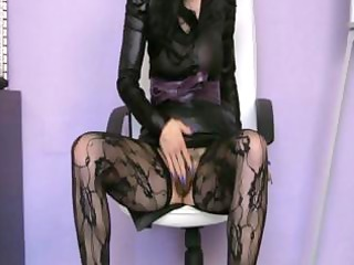 aged slender skank in darksome nylons masturbates