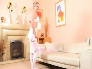 sexy mamma in white hose tease