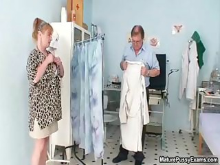 fake doctor inspecting this aged mamma part1