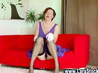 aged honey in nylons pleasures herself