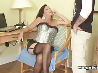 aged breasty cougar smokin oral job with son