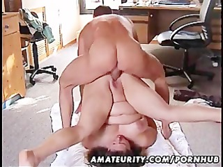 plump non-professional wife drilled on the floor
