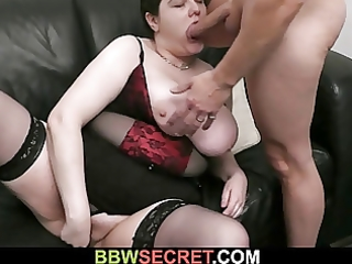 He fucks busty plumper while his wife away