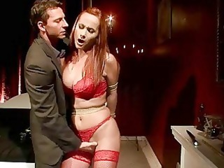 busty redheaded milf acquires bondaged and screwed
