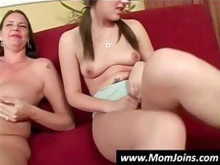 breasty brunette hair mommy teaches her daughter
