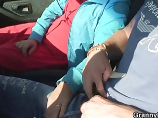granny whore is nailed in the car by a stranger