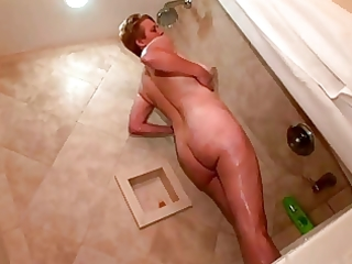 saggy boobed mommy in the shower