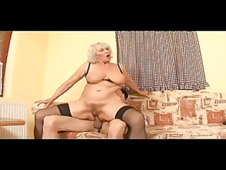 granny toys her beefy muff then gets screwed