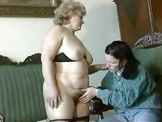 fat, blond granny gets licked, blows, and