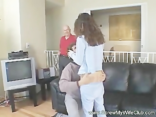 hubby watched his wife ate and enjoyed a biggest