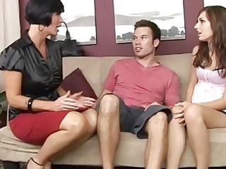 hawt mum teaching her preggo daughter how to suck