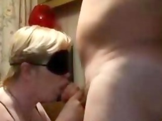blindfolded older gives bj and gets doggystyled