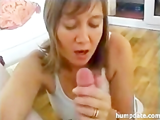 breasty wife gives sexy oral-sex and titjob