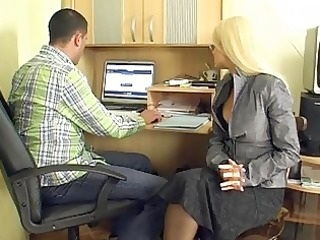 aged blond secretary gives group blowjobs