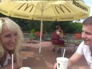 older bends over for doggy fuck in public